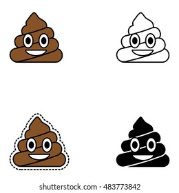 Happy poop design. Pin, patch, stamp, icon, sticker. Emoji. Vector illustration isolated on white background.