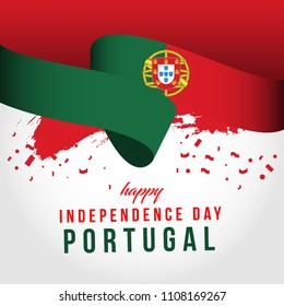 Happy Portugal Independent Day Vector Template Design Illustration
