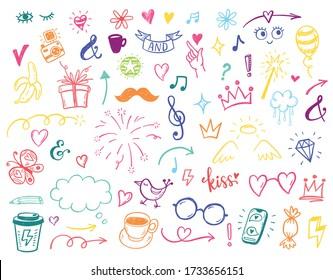 Happy positive Kids doodles, funny hand drawn set, education, kindergarden, adventure, birthday, holidays, social media, blogging illustrations