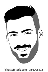 Happy positive laughing bearded male looking at camera. Easy editable layered vector illustration.