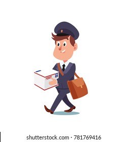 Happy Postman With Parcels and Letters in Bag. Cartoon Style Vector Illustration