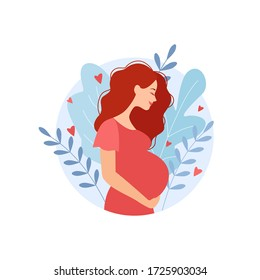 Happy pregnant woman holds her belly. Decorated beautiful leaves. Decorated beautiful leaves.Vector illustration.