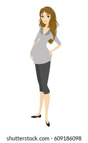 Happy pregnant woman, stock vector illustration