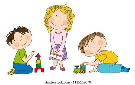 Happy preschool children. Little boy is kneeling on the floor building bricks, cute girl with curly hair is standing and holding a picture and smiling boy is playing with choo choo train.