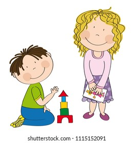 Happy preschool children. Little boy is kneeling on the floor building bricks and cute girl with curly hair is standing and holding a picture. Original hand drawn illustration.