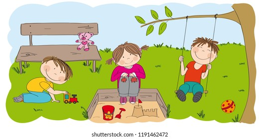 Happy preschool children playing outside in the park /garden. One boy is playing with choo choo train, little girl is sitting on the sandpit building sandcastle and second boy is sitting on the swing