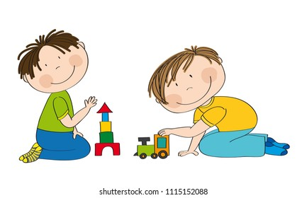 Happy preschool children. Two little boys kneeling on the floor, one is building bricks and the other is playing with choo choo train. Original hand drawn illustration.