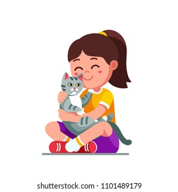 Happy preschool girl kid embracing and patting cat. Smiling kid, holding adorable pet kitten. Child cartoon character with cat. Childhood domestic animal kitty. Flat vector isolated illustration