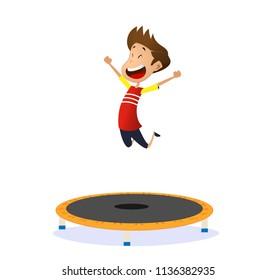 Happy preschool kid jumping on trampoline. Cartoon vector illustration
