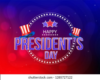 Happy President Day poster or banner design with uncle sam hats in American flag color.