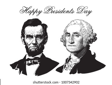 Happy Presidents Day. Abraham Lincoln and George Washington. Hand drawn vector portraits isolated on white background.