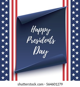 Happy Presidents Day background on blue curved paper banner isolated on conceptual American flag backdrop. Poster, brochure or flyer template. Vector illustration.