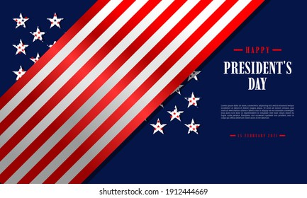 Happy President's Day background template. United States Celebration. It is suitable for banners, posters, flyers, websites, advertising, etc. Vector illustration