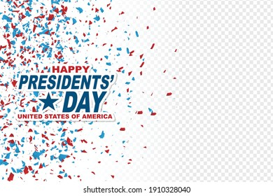 Happy Presidents day banner background. USA flag colors confetti red, blue, and white. American public holiday. Realistic vector illustration.
