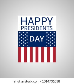 Happy Presidents Day banner with elements of the national flag of the United States