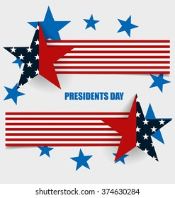 Happy Presidents Day. Presidents day banner illustration design with american flag.