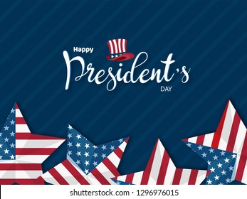 Happy President's Day banner or poster design with illustration of uncle sam hats and stars in American flag color.