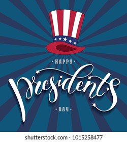 Happy President's day design background with uncle Sam hat. Handwritten lettering.