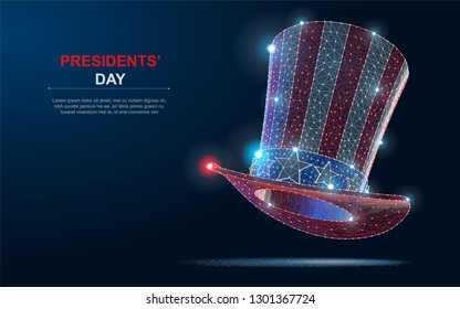 Happy President's day design background with uncle Sam hat. Polygonal wireframe vector Illustration with dots on blue background