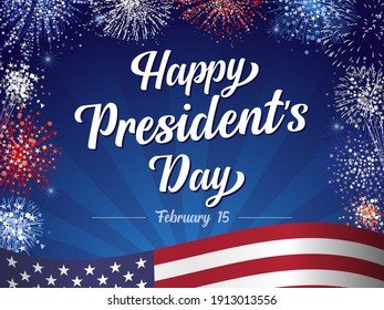 Happy President's Day February 15, lettering and fireworks with flag on beams background. Vector illustration with hand drawn text for Presidents day in USA. Design for greetings card or banner