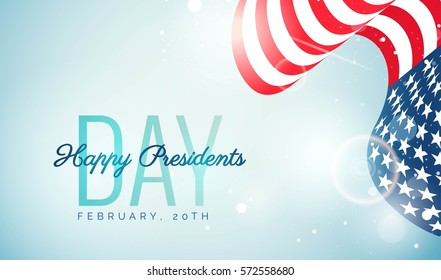 Happy Presidents` Day flyer, banner or poster. Holiday background with waving us flag. Vector illustration