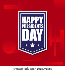 Happy president's day in a frame on a red stylish background