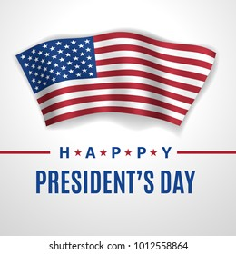 Happy President's Day greeting card with waving flag of USA