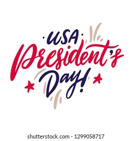 Happy President's day hand drawn vector lettering. Isolated on white background.