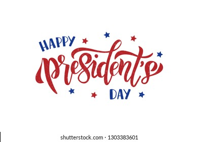 Happy Presidents Day hand drawn celebration text. American holiday. Brush lettering for greeting card, banner, invitation, flyer. Vector illustration isolated on white background