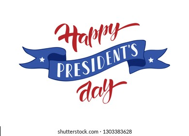 Happy Presidents Day hand drawn lettering. Celebration text for greeting card, banner, invitation, flyer. Vector illustration isolated on white background.