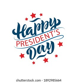 Happy President's day handwritten text isolated on white background for poster, greeting card, logo. Modern brush ink calligraphy, hand lettering. Vector circle-shaped Illustration in red and blue