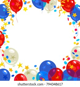 Happy Presidents Day Holiday background with traditional red blue white balloons and confetti. Place for text. Vector illustration isolated on white background.