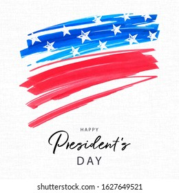 Happy Presidents Day holiday banner. Stylized image of the American flag, drawn by markers. USA Presidents Day background for sale, discount, advertisement, web. Place for your text.