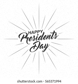 Happy Presidents Day inscription with rays of blast isolated on white background. Calligraphy font style. Vector illustration.