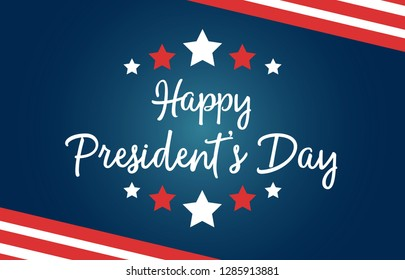 Happy President's Day national US holiday. Greeting card with symbols of American flag, with stripes and stars. Includes creative lettering on blue background