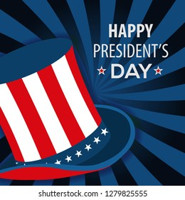 Happy President's day poster design with uncle Sam hat. Vector Illustration