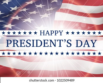 Happy president's day - poster with the flying  flag of the USA  with glow. Patriotic background with USA symbols