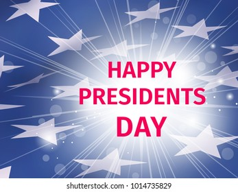 Happy Presidents Day poster with glow and rays on the background of the blue part of the fluttering US flag with stars
