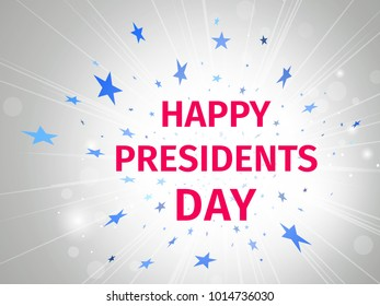 Happy Presidents Day poster with glow and rays on a white background with flying stars