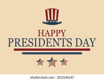 Happy Presidents Day poster with hat and stars. Vector illustration.