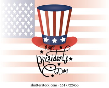 happy presidents day poster with tophat and usa flag vector illustration