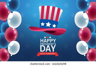 happy presidents day poster with tophat and balloons helium vector illustration design