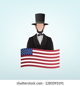 Happy Presidents Day, President Abraham Lincoln with US flag, Vector