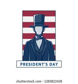 Happy Presidents Day, President Abraham Lincoln, retro design