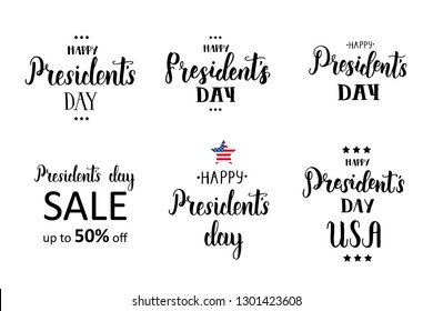 "Happy Presidents day set. National american holiday illustration. Hand made lettering quote-""Happy President's Day, President's Day Sale"". For holidays, postcards, websites"