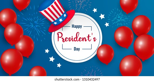 Happy Presidents Day with stars, balloons and hat. Vector illustration background  text lettering for President's day in USA. Design for  greeting card, sale banner, wallpaper, poster, invitation.