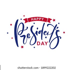 Happy Presidents Day with stars and ribbon. Vector illustration Hand drawn text lettering for Presidents day in USA. Script. Calligraphic design for print greetings card, sale banner, poster