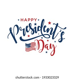 Happy Presidents Day text Background. Vector illustration Hand drawn text lettering for Presidents day in USA.