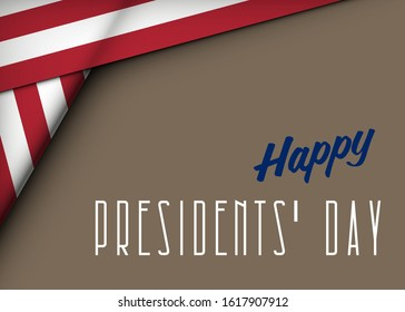 Happy Presidents' Day Typography. Over Distressed color clean Background with American Flag Border. Vector banner 18th february american holiday
