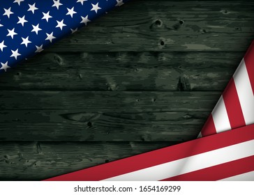 Happy Presidents' Day Typography. Over Distressed dark Wood Background with American Flag Border. Vector banner 18th february american holiday
